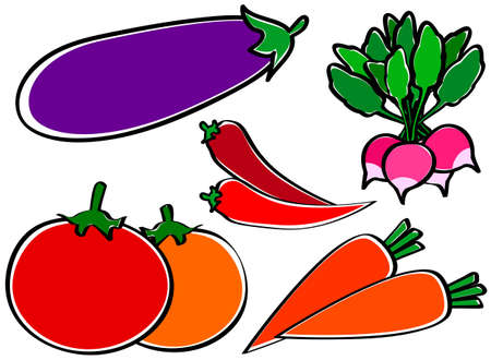 Useful vegetables on a white background. Illustration Stock Vector - 10514080
