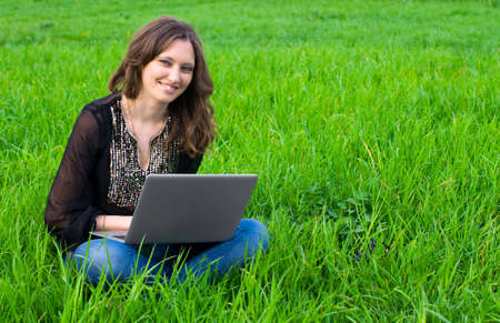 The girl with laptop photo