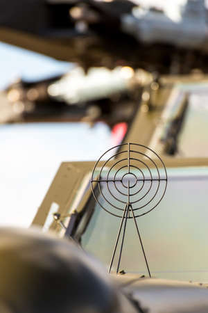 firepower: Close up of the front of an military attack helicopter Stock Photo