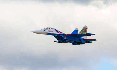 monoplane: ZHUKOVSKY - AUGUST 26, 2015: Aerobatic team shows demonstration flight at MAKS 2015. Editorial