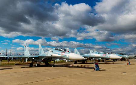 interceptor: Zhukovsky, Russia - august 30, 2015: Aerobatic team shows demonstration flight at MAKS 2015. Editorial