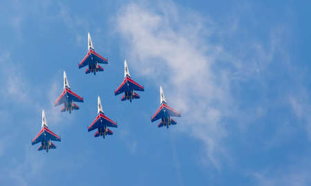 monoplane: ZHUKOVSKY, RUSSIA - AUGUST 30, 2015: Aerobatic team shows demonstration flight at MAKS 2015.