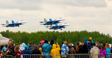 fulcrum: Kubinka, moskow region, Russia - may 21, 2016: Aerobatic team shows demonstration flight at Kubinka. Editorial