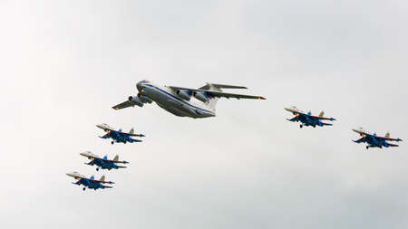 pilotage: Kubinka, moskow region, Russia - may 21, 2016: IL-76MD and Su-27