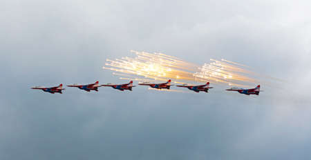 centenary: Kubinka, moskow region, Russia - may 21, 2016: Russian aerobatic group Strizhi shows demonstration flight at show dedicated to the centenary of the Russian Air Force