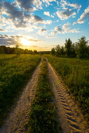 effect sunset: Country Road With Sun Light Effect. Sunset Stock Photo