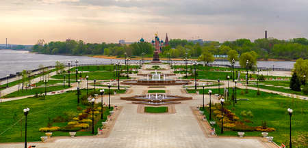 View of the amusement park on the river Volga