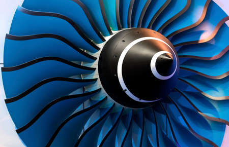 close-up of a large jet engine turbine blades Stock Photo