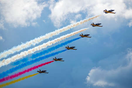 ZHUKOVSKY, MOSKOW REGION, RUSSIA - July 23, 2017: A group of Russian military aircraft on a demonstration show MAKS-2017 Editöryel
