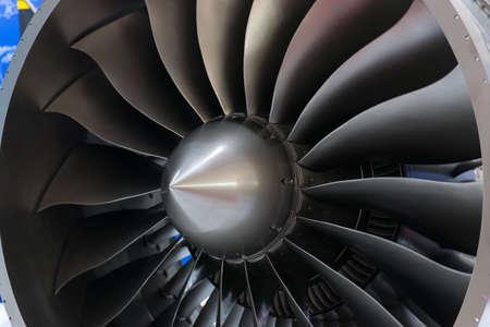 Close-up of a large jet engine turbine blades Stock fotó
