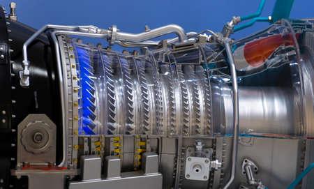 Plane engine element. Turbine blades. Blue light 스톡 콘텐츠