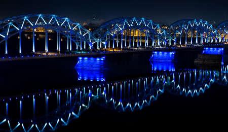 Railway bridge over the Daugava river at night, Latvia