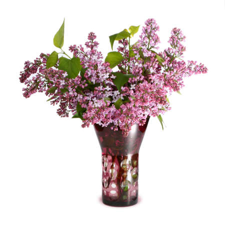 Lilac bouquet in a glass vase