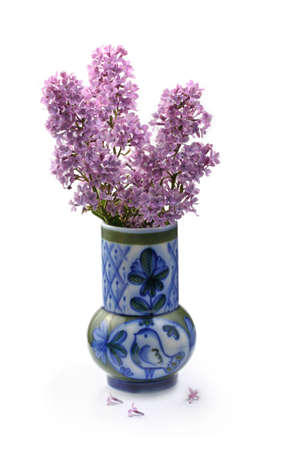 Lilac bouquet in a ceramic vase