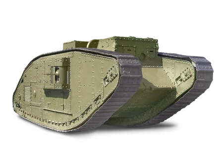 British Mark V tank against white background Banco de Imagens