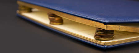 Blue diary with stacks of coins inside, isolated on black. Stash of money
