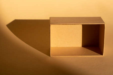 brown cardboard box on beige background and its shadow. Packaging