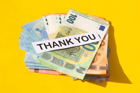 various denominations of euro banknotes and the words thank you