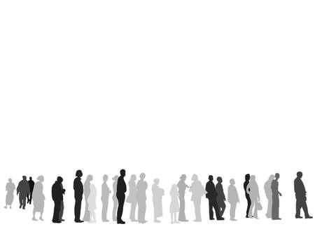 La gente espera en línea silueta  Ilustración de vector