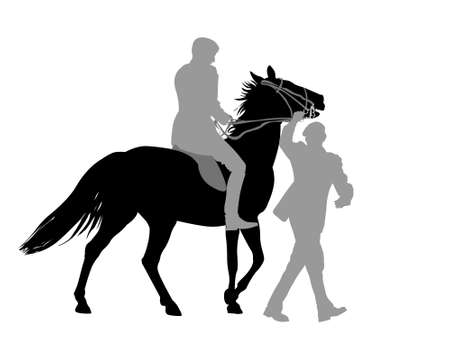 gait: Silhouette of two adult men handling excited horse