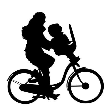 dutch: Mother with child riding bicycle silhouette