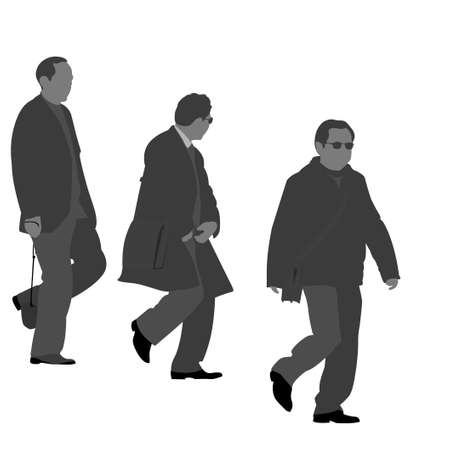 three men: Three  men going downstairs silhouette Illustration