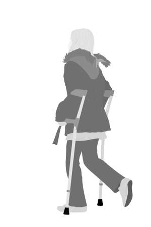 harm: Young girl walking with elbow crutches Illustration