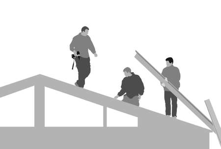 roofer: three men building house Illustration