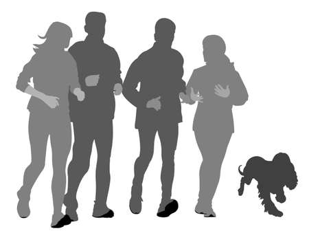 companion: Two couples with dog  jogging