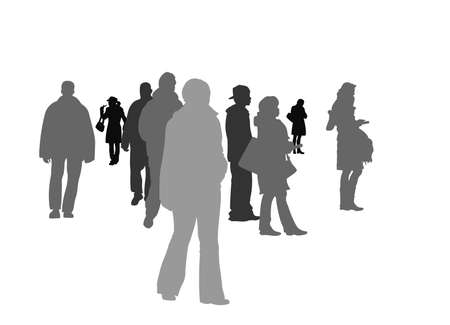 group of people in public square Vector