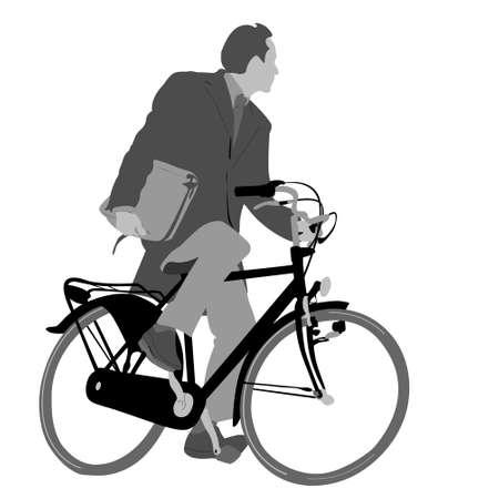 equipos trabajo: escala de grises bicicleta que conmutan ilustraci�n  Vectores