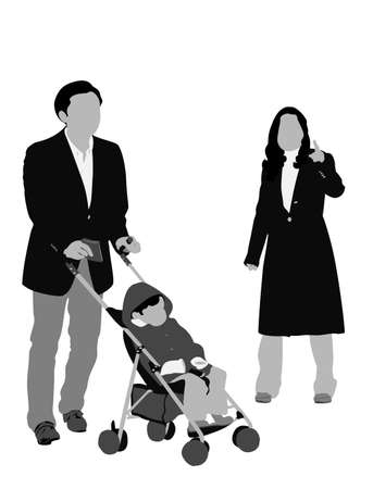 gray scale: young family gray scale illustration