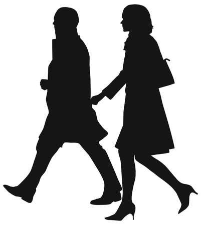 business people walking: Professional people dressed in stylish outfits