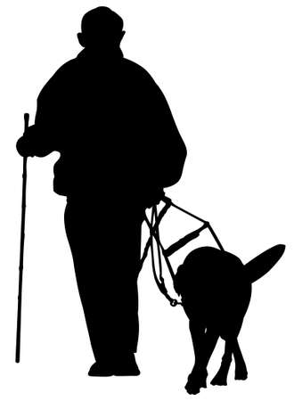 guide dog: man with guide dog silhouette Illustration