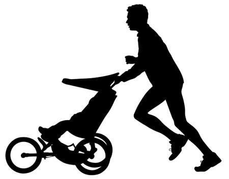 running shoes: father with  jogging silhouette Illustration