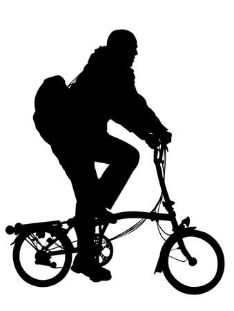 man riding modern foldable bicycle silhouette Vector