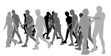 group travel: group of people walking  Illustration