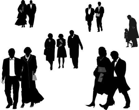 arriving: people dressed up arriving, silhouettes Illustration