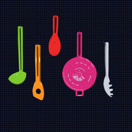 hanging kitchen utensils, vector illustration Stock Vector - 2958842