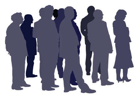 group of people standing silhouette Vector