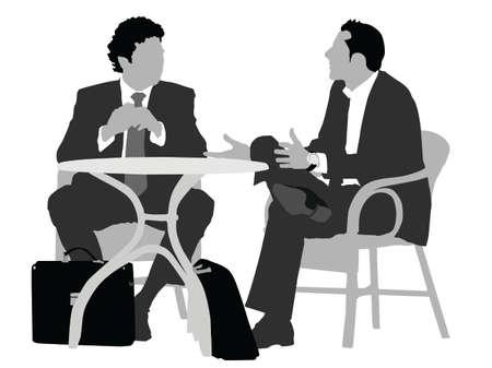 caballeros: dos se�ores sentados en mesa de caf�