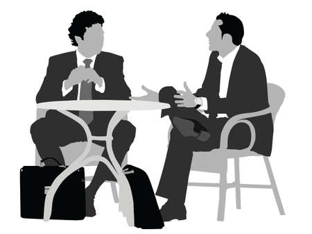 babble: two gentlemen sitting   at coffee table  Illustration
