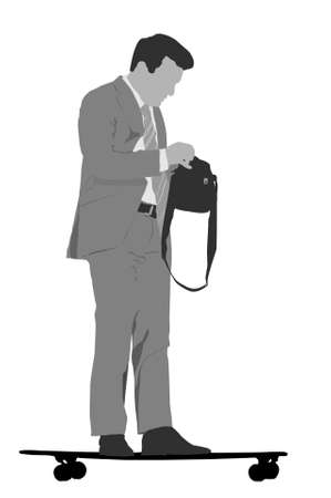 commuting: gray scale skateboard commuting vector illustration  Illustration