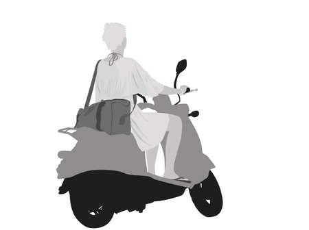 vespa: young girl riding bike on the way back from beach  Illustration
