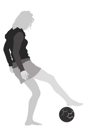 young girl playing soccer illustration