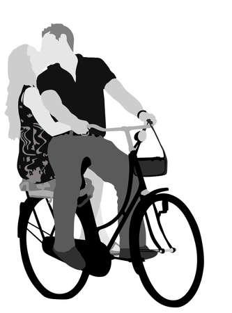 innamorati che si baciano: giovani amorevole matura ciclismo, vettore di colore grigio-scala illustrazione