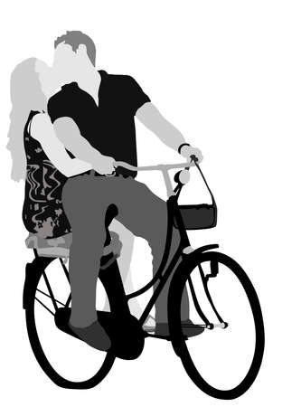 young loving couple cycling,  vector  gray-scale illustration