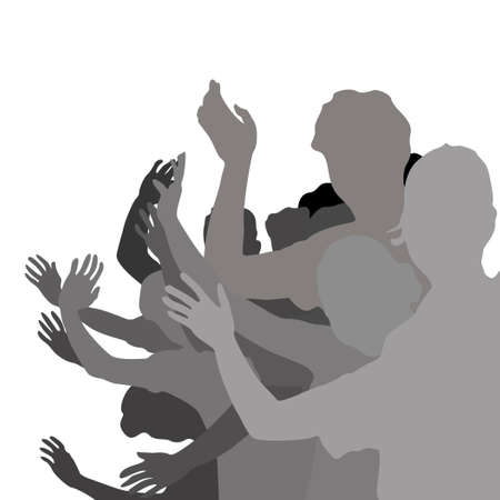 waving hand: group of young people hand waving  illustration