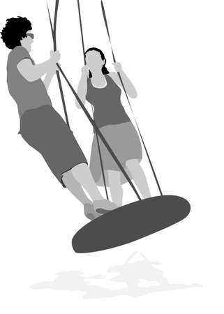 young couple swinging  Vector