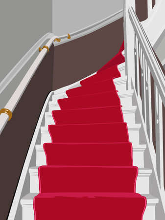 aristocratic: red carpet staircase vector illustration